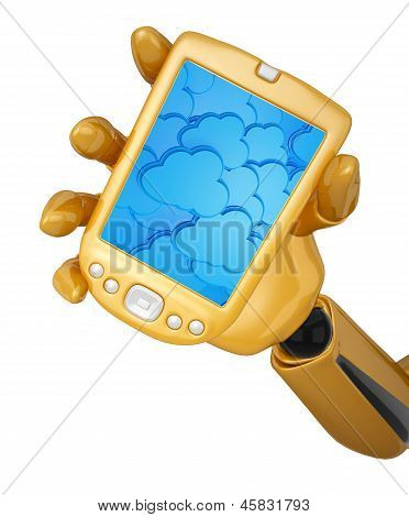 Robotic Hand Hold A Mobile Phone With 3D Cloud Computing Icon Background
