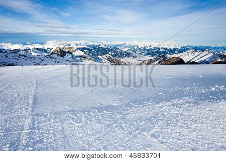 Winter with ski slopes in Kaprun resort