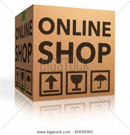 webshop online internet shopping icon cardboard box package web shop order package shipping