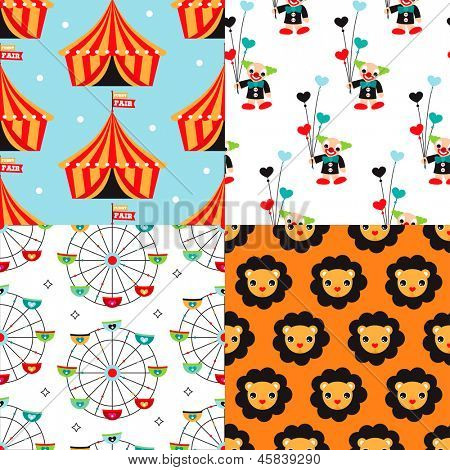 Seamless circus clown and kids carnival lion illustration background pattern set in vector