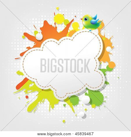 Bird With Abstract Speech Bubbles With Gradient Mesh, Vector Illustration