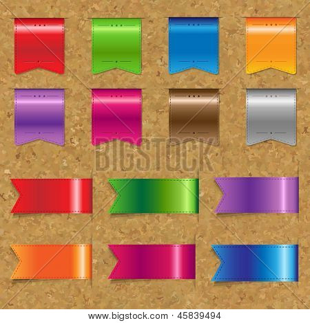 Web Color Ribbons Big Set With Cork Background With Gradient Mesh, Vector Illustration