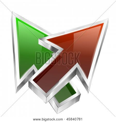 3d color arrows concept icon