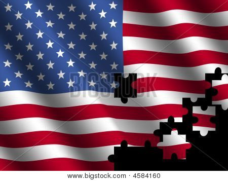 American Flag With Jigsaw Effect