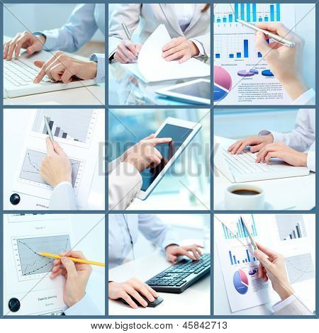 Collage of businesswoman hands working with touchpad and papers in office