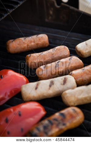Sausages And Red Peper On The Grill