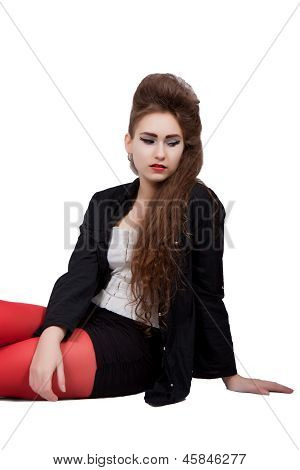 Teenage Girl In Black And Red Clothes