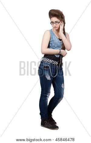 Teenage Girl In A Blue Denim Dress