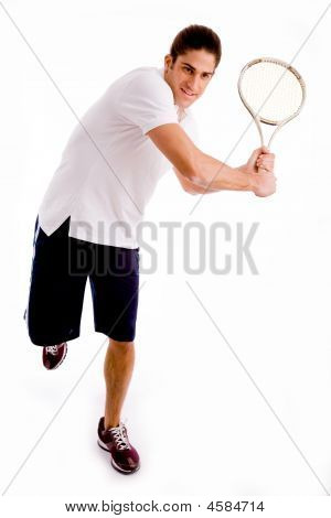 Front View Of Man Playing Tennis