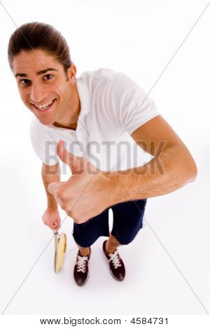 High Angle View Of Tennis Player With Thumbs Up