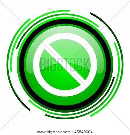 access denied green circle glossy icon