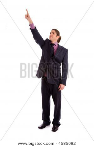 Front View Of Businessman Pointing Up