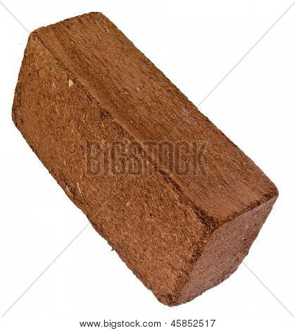 One Block Briquette of Coconut  Husk Fiber isolated on white background