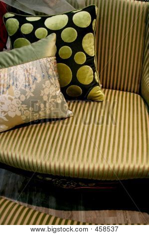 Green Sofa And Cushions