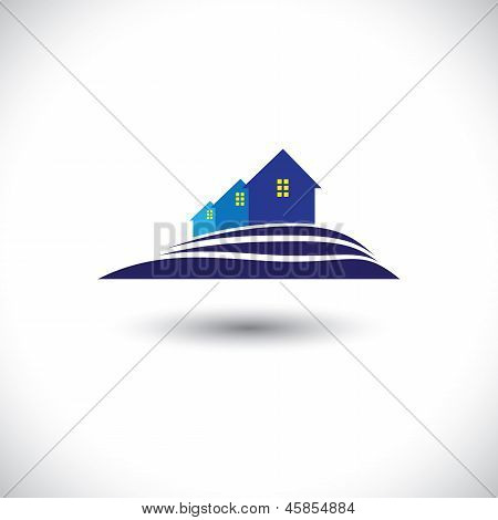 House(Home) & Residence pictogram voor Real-estate-Vector afbeelding