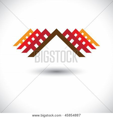 House(home) & Office Icon For Real-estate Industry- Vector Graphic