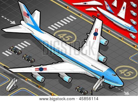 Isometric Air Force One In Front View