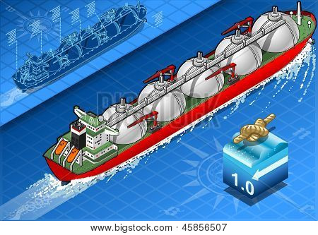 Isometric Gas Tanker Ship In Navigation