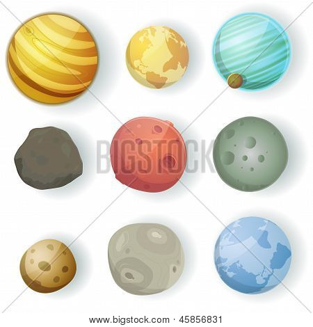 Cartoon Planets Set