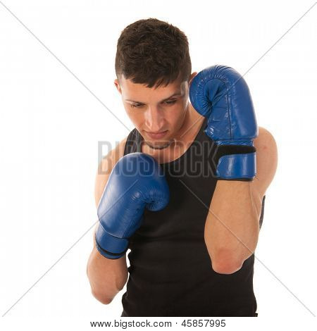 Boxing man with blue gloves defending in the game isolated over white background