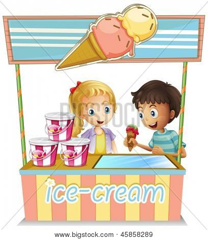Illustration of the two young kids at the ice cream stand on a white background