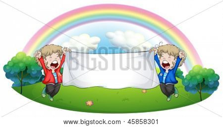 Illustration of the two kids at the hill holding an empty banner on a white background