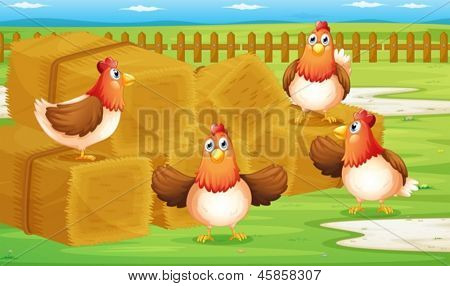 Illustration of a farm with four hens inside the fence