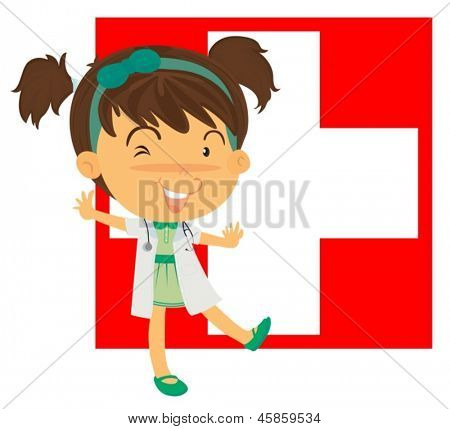 Illustration of a nurse on a white background