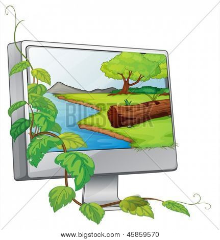 Illustration of a monitor showing a river in a forest on a white background