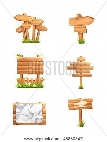 Wooden signs set, vector
