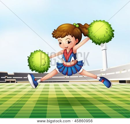 Illustration of a cheerdancer with green pompoms at the soccer field