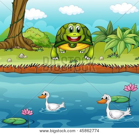 Illustration of a turtle beside the river with ducks