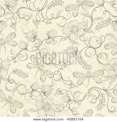 Seamless pattern with silhouette flowers, dragonflies and snails.