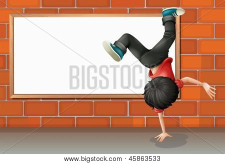 Illustration of a boy breakdancing in front of the empty board