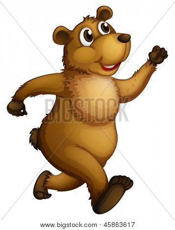 Illustration of a big bear running on a white background