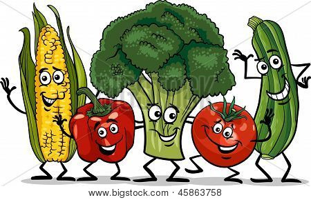 Comic Vegetables Group Cartoon Illustration