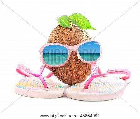 happy coconut concept for travel agency with  beachwear isolated on white background