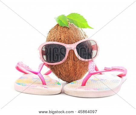 happy coconut concept for travel agencys  and beachwear isolated on white background