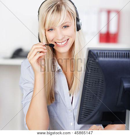 Blond Call Center Operator