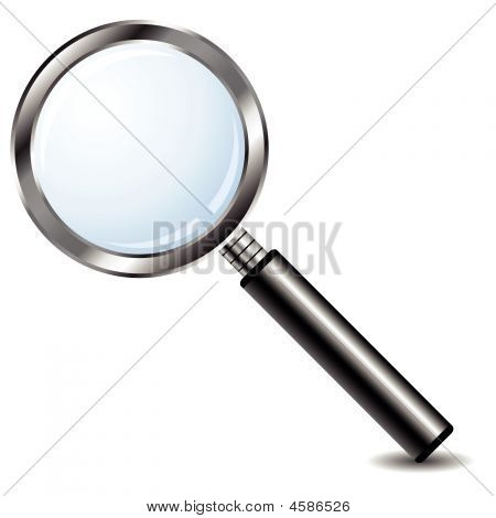 Magnifying Glass Over White