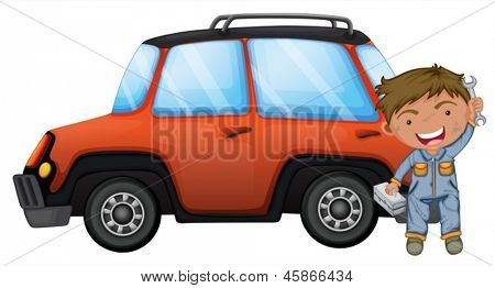 Illustration of a man fixing the orange car on a white background