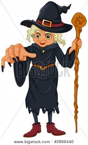 Illustration of a witch holding a wooden stick on a white background
