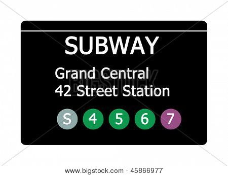 Grand Central 42 Street Station sign isolated on white, New York city, U.S.A.