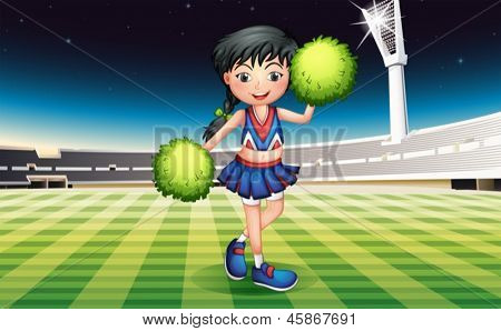Illustration of a cute girl with green pompoms