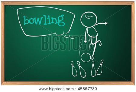 Illustration of a blackboard with a drawing of a kid playing bowling on a white background