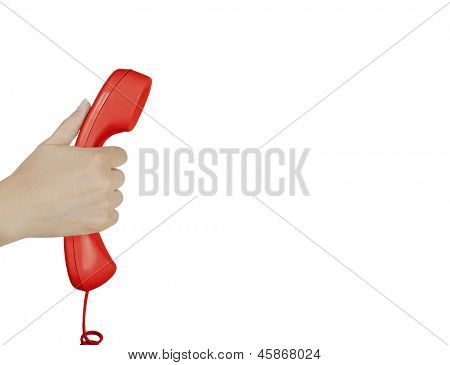 hand holding  earpiece from a telephone