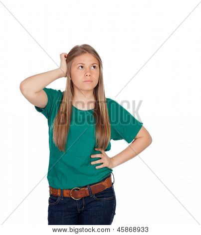 Indecisive girl looking up isolated on white background