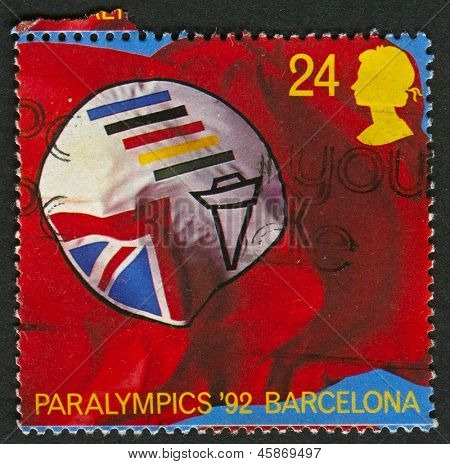 UK - CIRCA 1992: A stamp printed in UK shows image of the British Paralympic Association Symbol (Paralympics 1992, Barcelona), circa 1992.