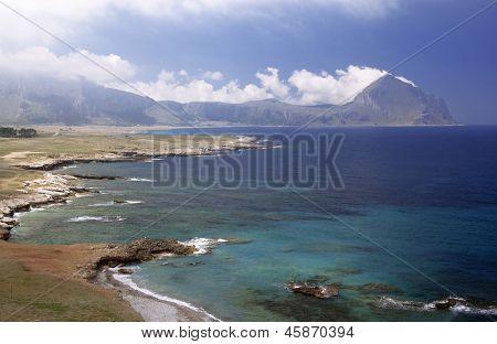 San Vito Lo Capo, Sicily: east side coastline and Monte Cofano in background