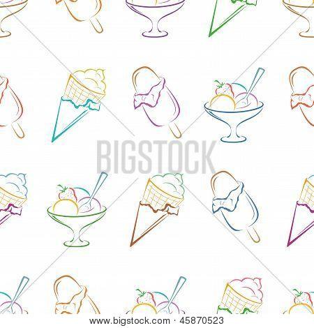 Ice cream pictogram, seamless